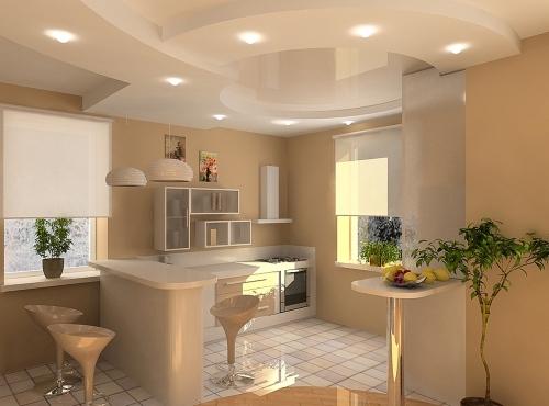 Потолок из гипсокартона на кухне из разнообразных фигур