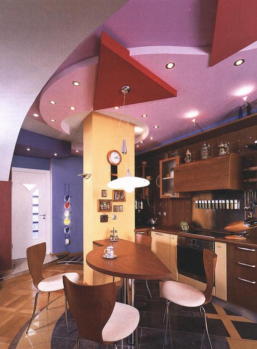 Потолок из гипсокартона на кухне в разных стилях и цветах