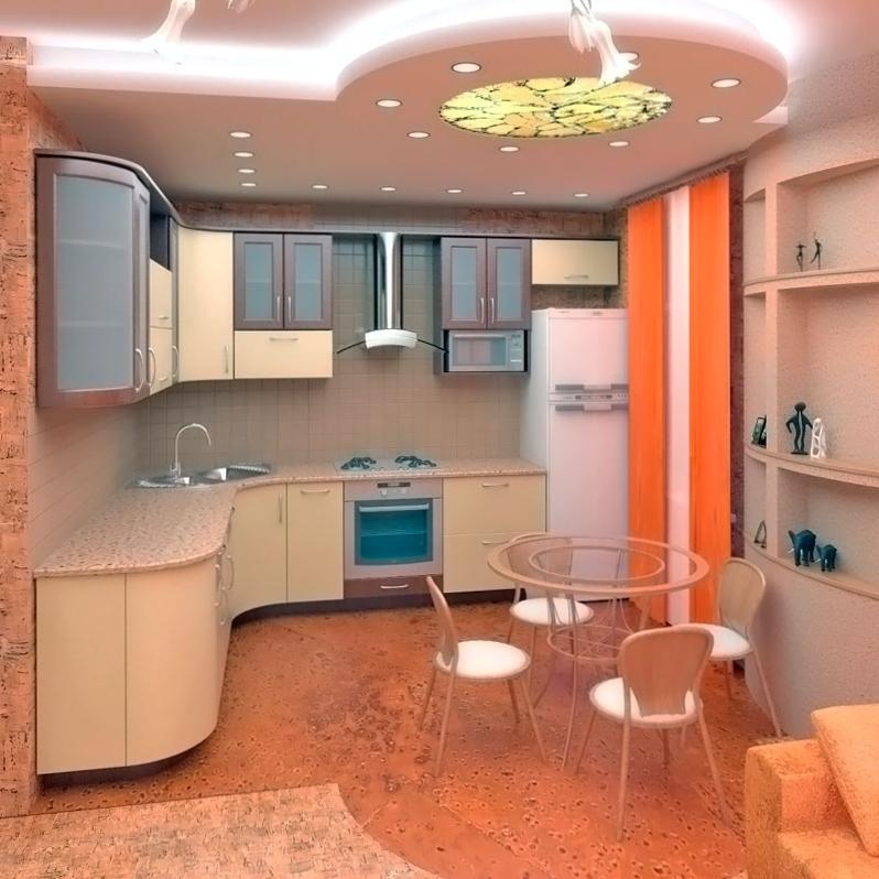 Потолок из гипсокартона на кухне в виде круга с белой подстветкой