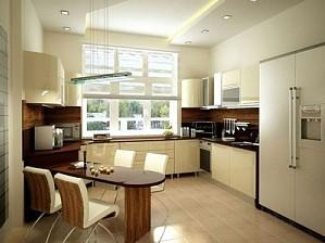 Потолок из гипсокартона на кухне с изгибами в сочетании с мебелью