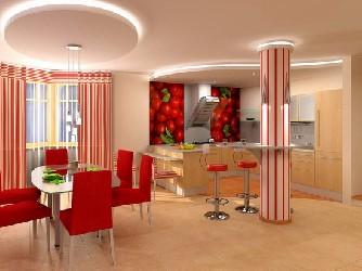 Потолок из гипсокартона на кухне в виде круга